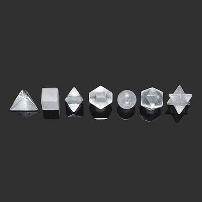 Platonic Solids Sacred Geometry Set 7 Clear Quartz Healing Crystal Decoration