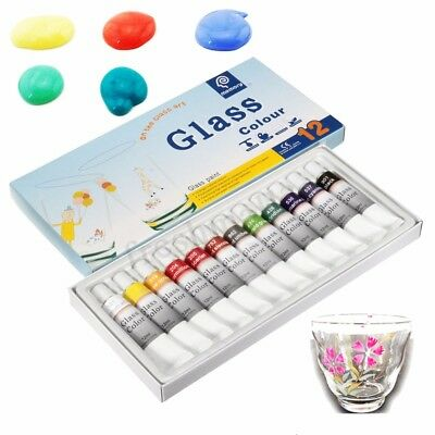 12 Color Set Glass Paint Tubes 12ml Non Toxic Painting Kit Draw Pigment Art Tool