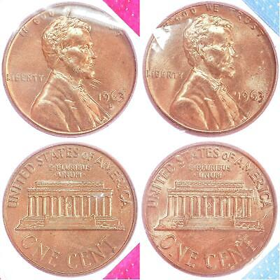1963 P D Lincoln Memorial Cent BU US Mint Cello 2 Coin Penny Set