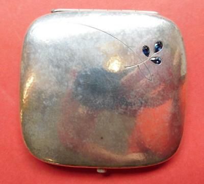 Stunning Modernist Mid Century German 800 Silver Ladies Compact with 3 Sapphires