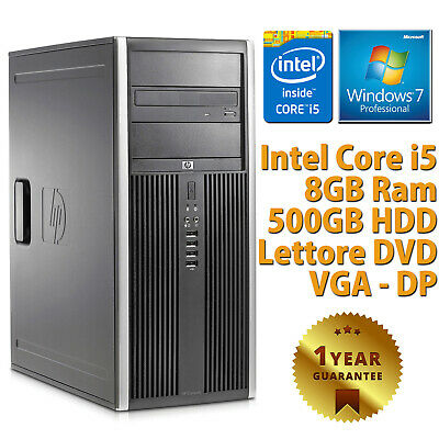 PC COMPUTER TOWER DESKTOP RICONDIZIONATO HP QUAD CORE i5 8GB 500GB WINDOWS 7