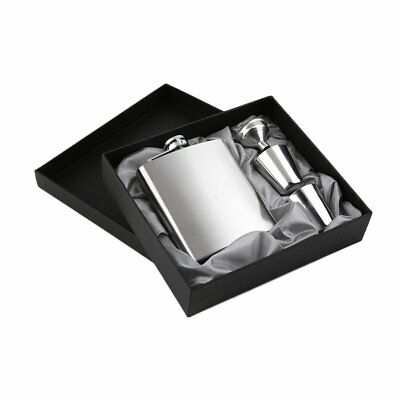 7oz Stainless Steel Pocket Hip Flask Funnel Cups Set Drink Bottle GiAE