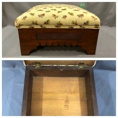 Antique Vintage Footstool Sewing Box Hinged Storage Solid Wood Upholstered