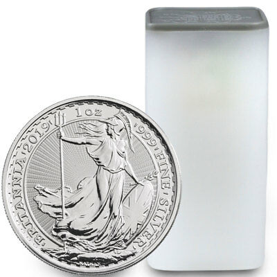 Roll of 25 - 2019 Britain 1 oz Silver Britannia £2 Coins GEM BU Coins SKU55558