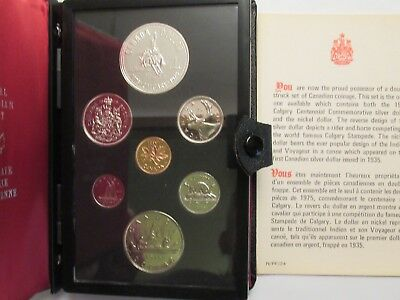1975 Canada Proof-Like 7 coin set, Calgary Stampede, 50% silver dollar