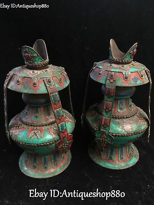 Old Chinese Bronze Turquoise Coral Gem Ancient Oil lamp Oil-lamp Pair Statue