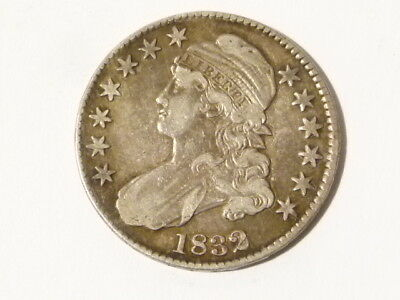 1832 US United States Silver 50c Half Dollar Fifty Cent Coin ERROR edge  #A37 *