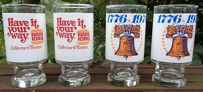 Lot Of 4 Burger King 1776-1976 Collector's Series Bicentennial Glasses, New