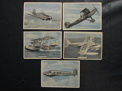Cigarette Cards - Ardath Tobacco - Fighting + Civil Aircraft lot of 5 -1930's