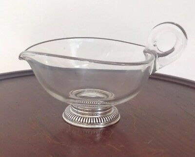 Vintage Sterling Silver Base Glass Syrup Creamer Cream Pitcher Gravy Boat Sauce
