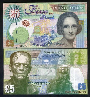 Great Britain, 5 pounds, 2018, Kamberra - Mary Shelley, Frankenstein Monster