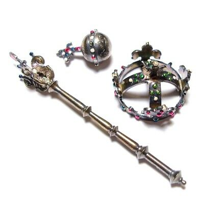 Beautiful Old Miniature Vintage Or Antique Silver Crown & Sceptre & Orb (A21)