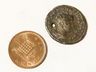 Antique Silvered Roman GORDIAN Coin Pierced in antiquity #A79 *