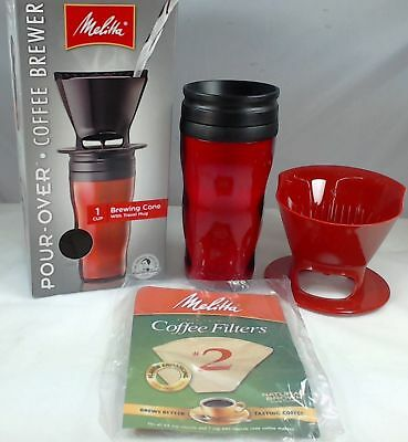 Melitta 64014, 1 Cup Coffee Brewer with Travel Mug, Red