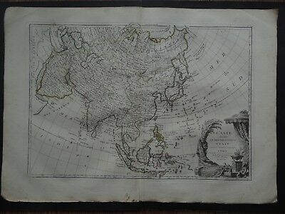 1762 JANVIER  Atlas map  ASIA - L'ASIE  China India Indonesia Japan Mer de Coree