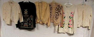 Lot of 15 Vintage 50s Cardigans Sweaters Hong Kong Sequin Hand Beaded Floral Vtg