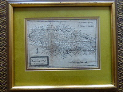 Framed Antique Map of Jamaica by H. Moll