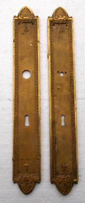 Pair of Antique French Bronze Door Finger Scratch Plates, Push Plates