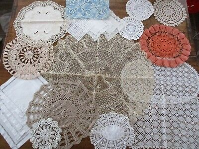 Job Lot of Lace Doilies with many hand crocheted