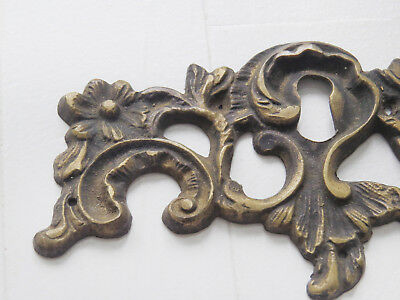Huge Antique CAST BRONZE not iron Ornate Floral French KEYHOLE COVER ESCUTCHEON