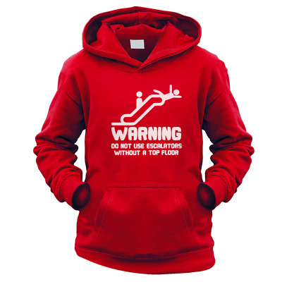 Warning Escalators Kids Hoodie (Pick Colour and Size) Gift Present Funny Safety