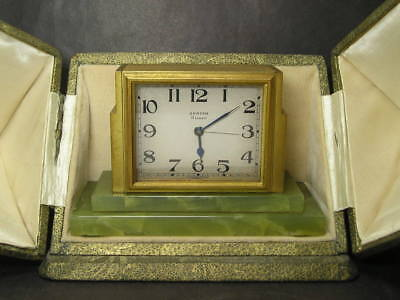 1930s Art Deco Zenith Cased  Mantle / Carriage or  Travel Clock with Onyx Base