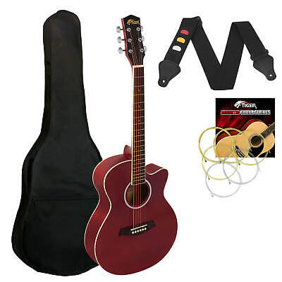Tiger 3/4 Size  Acoustic Guitar for Beginners Guitar - Red
