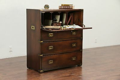 English Antique 1890 Mahogany Military Officer Campaign Desk & Chest #29883