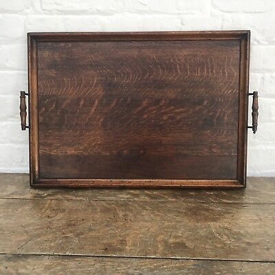Antique Victorian Wood Serving Tray, Large 64 Cm.
