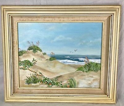 Vintage Framed Original Oil Painting Beach Sand Dunes Gulls Signed Betsy Terrill