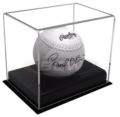 BCW Acrylic Softball Display Case Holder Black Base with Ball Cradle