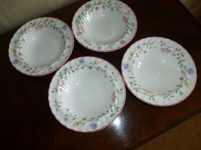 """4 Johnson Brothers Summer Chintz Rimmed China Oatmeal/cereal/soup Bowl 6"""" Round"""