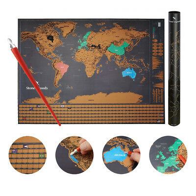 Scratch Off World Map - Deluxe Large Poster with USA, Canada, Europe Outlined