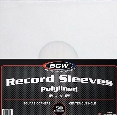 50 Paper Plastic 12 Inch Polylined Record Inner Sleeves 33 RPM LP Vinyl Storage