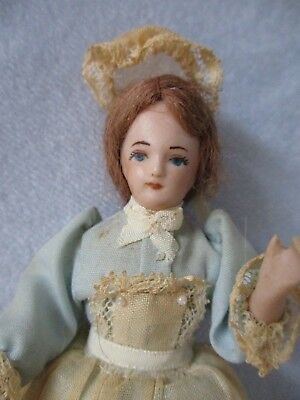 "Vintage Dollhouse Doll 5"" Bisque Lady Woman Maid Housekeeper Dress Miniature"