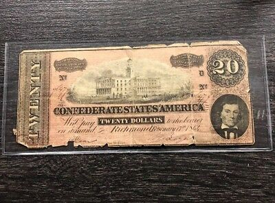 Confederate States Of America $20 Note Richmond Virginia Heavily Circulated