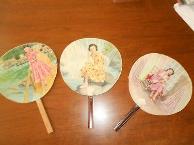 Three Vintage Japanese Women Hand Painted Paper Hand Fans