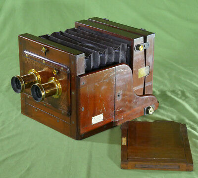 Rare Thomas R W Stereo Half Plate Camera Dallmeyer Lenses Mahogany Brass c. 1875