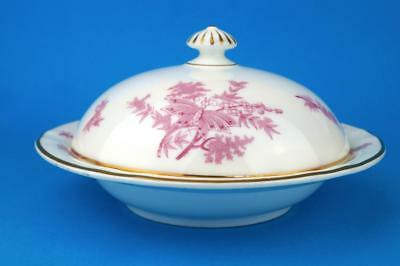 SUPERB c1891 Royal Worcester Grainger MUFFIN DISH Aesthetic PINK BUTTERFLIES