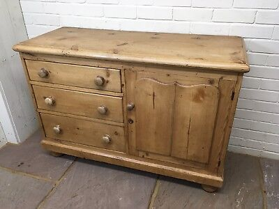 Original Cottage Victorian Antique Waxed Pine Dresser Base 3 Drawers & Cupboard