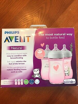 Philips avent New Bottles 3 9oz Girls Baby Special Edition Wide Colic Pink