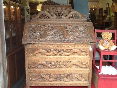Lovely Highly Carved Oriental Antique  Bureau