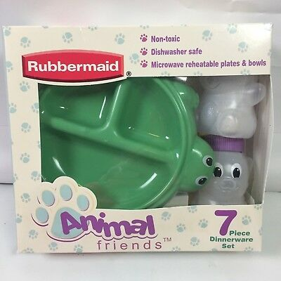 Rubbermaid Animal Friends 7 Piece Dish Set For Baby Toddler New in Box 2001