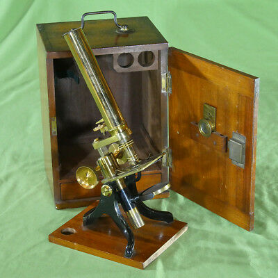 Extremely Rare Microscope Cased Monocular Brass probably J. Browning c. 1880