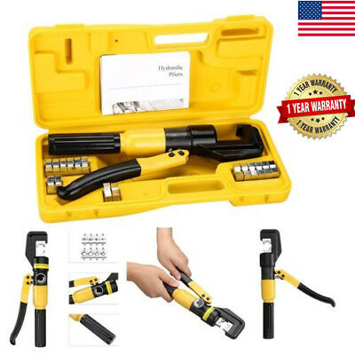 10 Ton Hydraulic Wire Battery Cable Lug Terminal Crimper Crimping Tool & 8 Dies