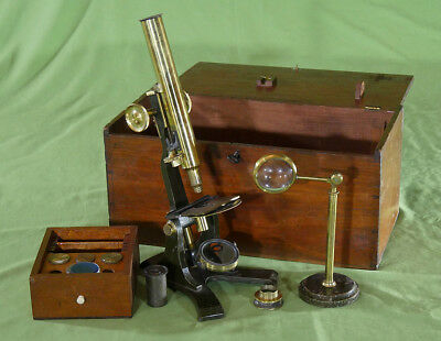 Extremely Rare Microscope Cased Monocular Brass probably Watson c. 1880