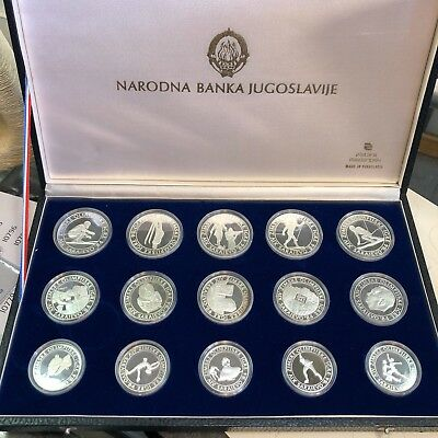 Yugoslavia 15 Silver Proof Coins Set Sarajevo 1984 Olympic Games Box Set #10776