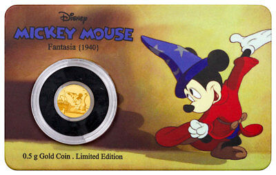 2017 Niue Mickey Through the Ages Fantasia 1/2 g Gold Proof $2.5 In OGP SKU44704
