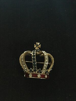 Queen Elizabeth Crown Brooch Limited Edition Sardi Design