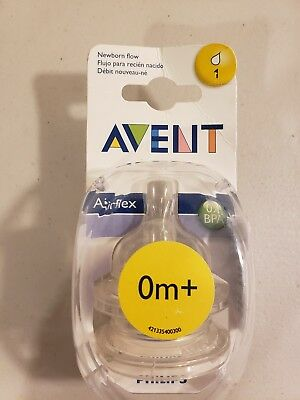 Philips Avent BPA Free Natural Nipple Shape Newborn Flow 0m + 2 Count